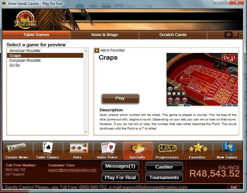 silversands online casino  games download