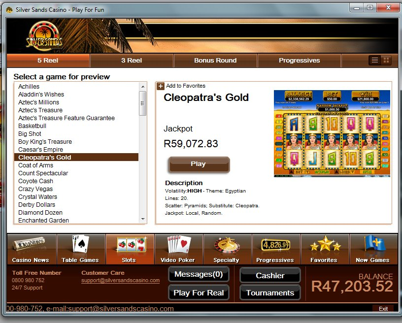 silversands casino play online